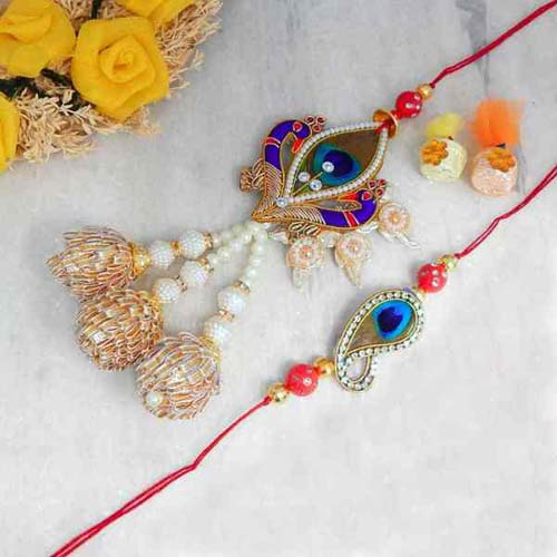 Peacock Theme Bhaiya Bhabhi Rakhi Set - UK Delivery Only