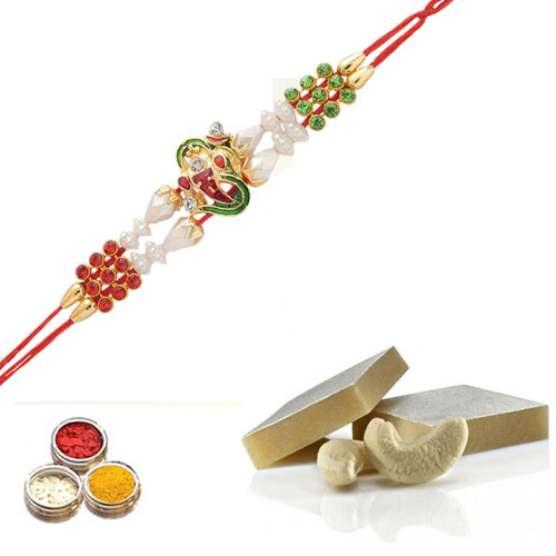 Rakhi With Kaju Barfi 250gms - USA Delivery Only