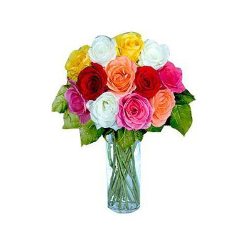 12 Short Stem Mixed Roses - Saudi Arabia Delivery Only
