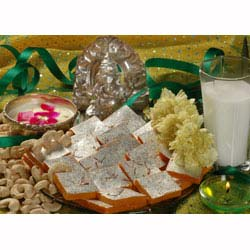Haldirams Kaju Kesar Barfi 500 gms with Rakhi