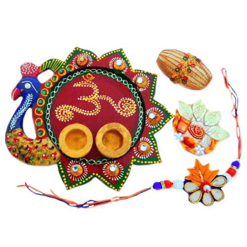 Peacock Om Puja Thali - AUSTRALIA Delivery Only