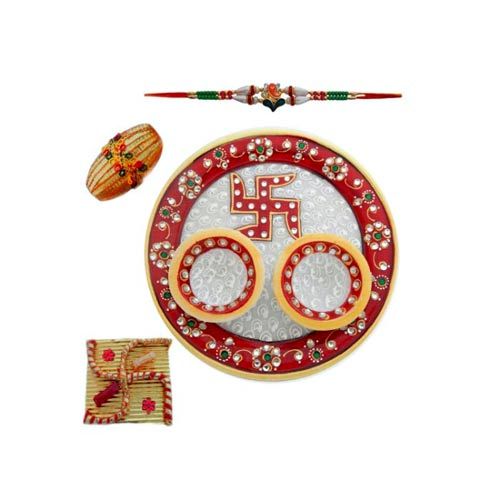 Swastika Marble Puja Thali - AUSTRALIA Delivery Only