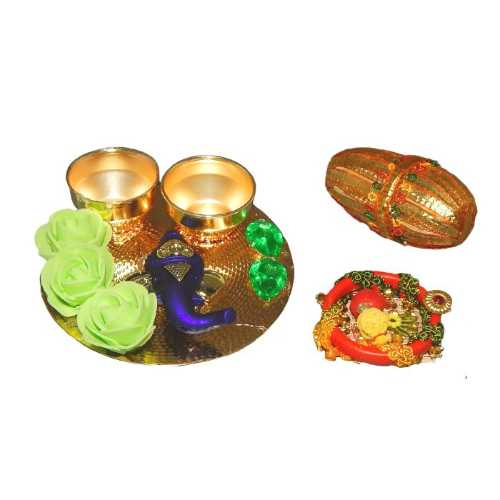 Lord Ganesh Small Puja Thali - USA Delivery Only
