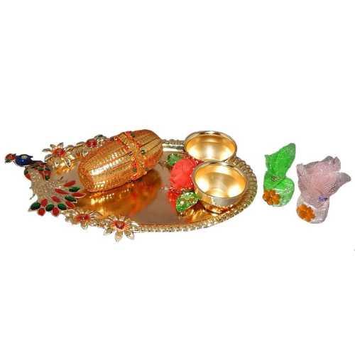 Meenakari Peacock Puja Thali