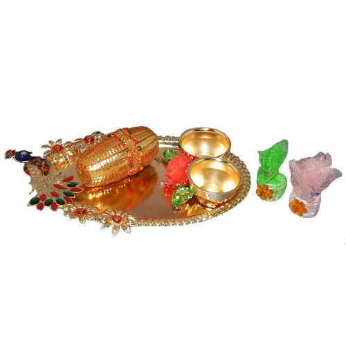 Meenakari Peacock Puja Thali - USA Delivery Only