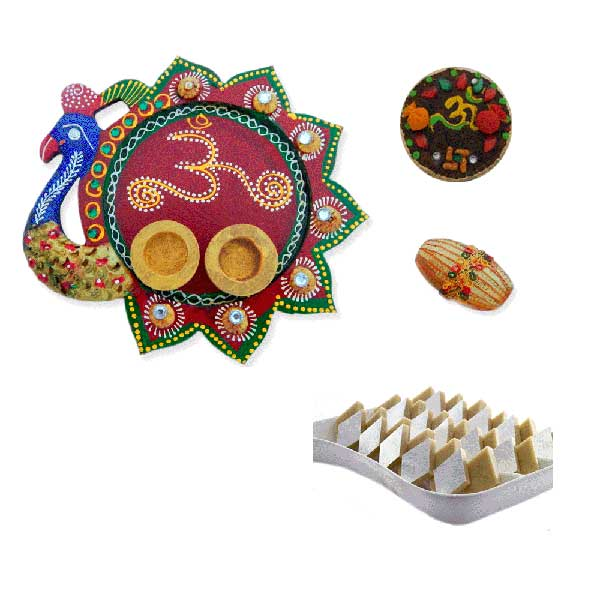 Peacock Om Thali With Kaju Barfi 200 gms. - Uk Delivery Only