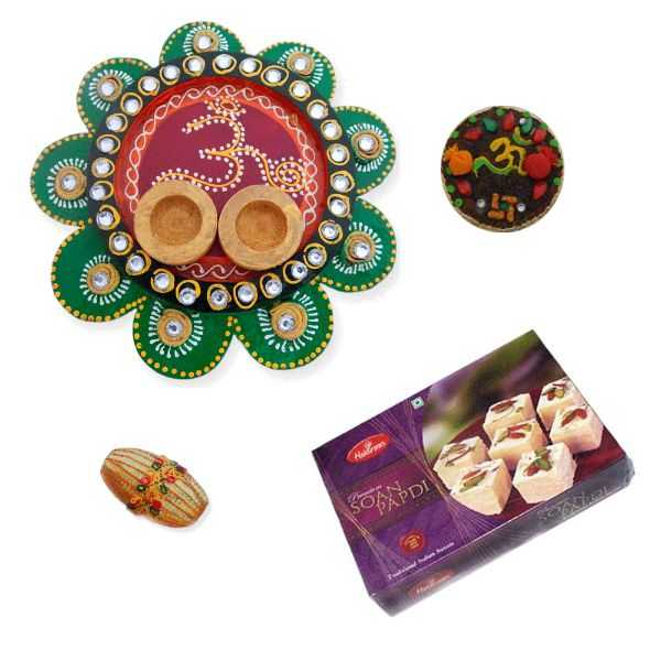 Designer Om Thali With Soan Papdi 500 gms. - CANADA Delivery