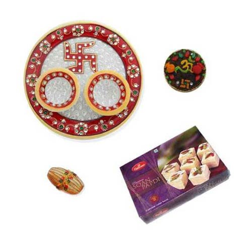 Swastik Marble Thali With Soan Papdi 250 Gms. - Singapore only
