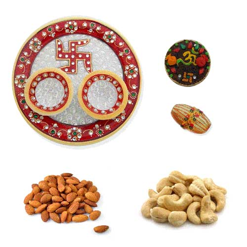 Swastik Marbel Thali With Dry Fruits 200 Gms. - USA Only