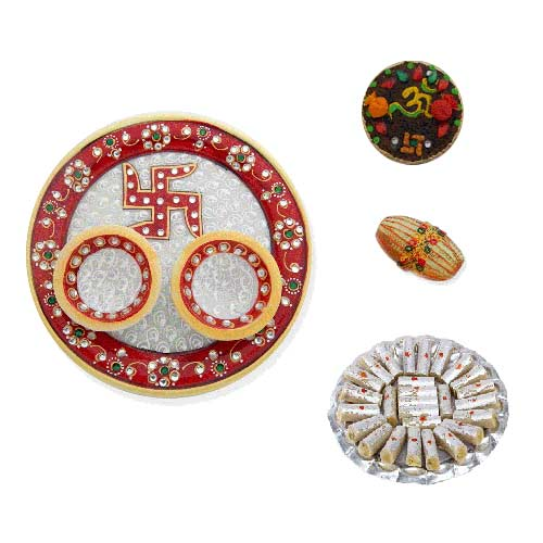 Swastik Marble Thali With Kaju Rolls 200 Gms. - UK Only