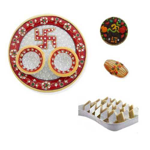 Swastik Marble Thali With Kaju Barfi 200 Gms. - UK Only