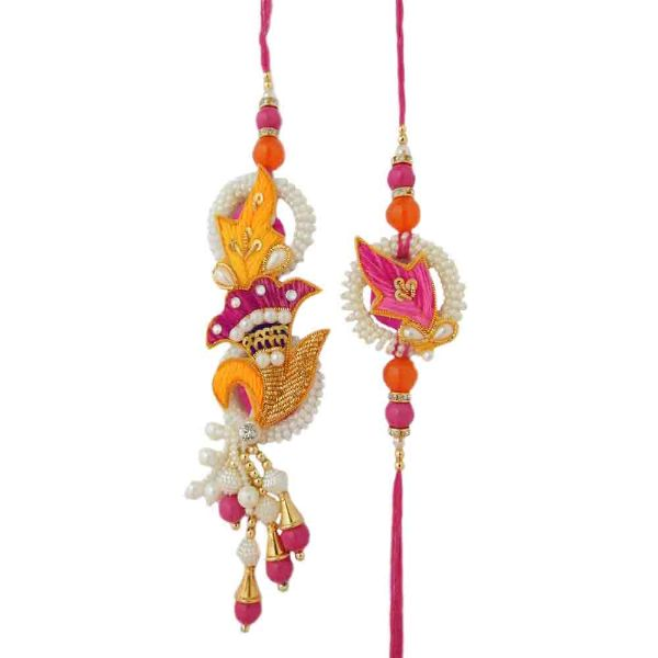 Gratifying Rakhi Lumba Set - USA Delivery Only